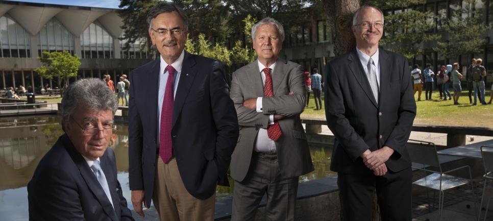 Clockwise from left: President Patrick Aebischer (EPFL), President Wolfgang A. Herrmann (TUM), Rector Magnificus Hans van Duijn (TU/e) and President Anders Overgaard Bjarklev (DTU).