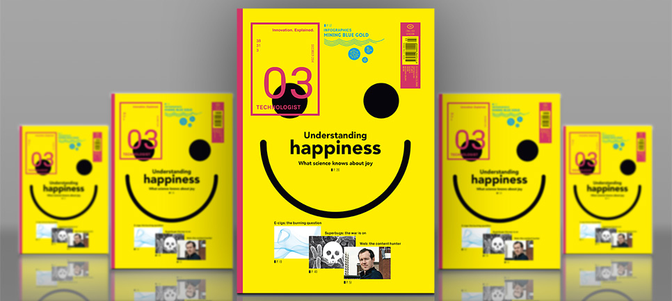 The front page of Technologist magazine no. 3. Main illustration: a smiley on yellow background