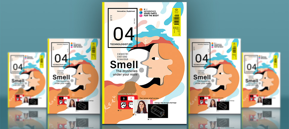 The front page of Technologist magazine issue 4. Main illustration: drawing of a human face with prominent nose, and various cloud-like shapes in different colours depicting scents
